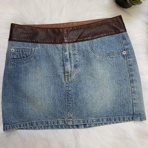 Alice + Olivia Denim Jean Mini Skirt Leather Waist